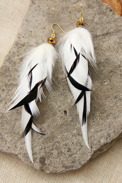 Серьги с перьями «Ассель»