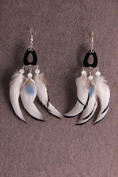 Серьги с перьями «Белые паруса»