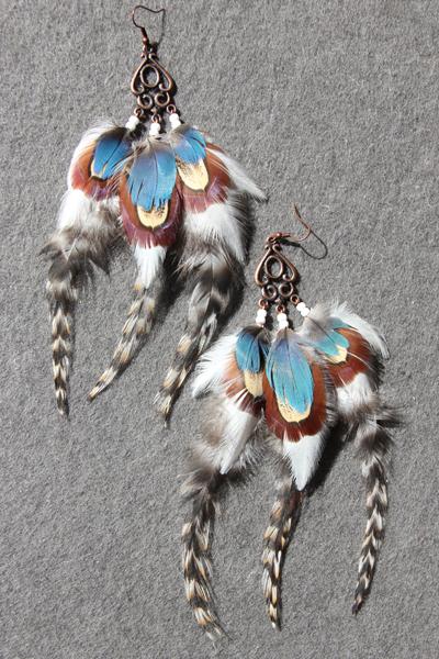 Серьги с перьями «Голубоглазая Рысь»