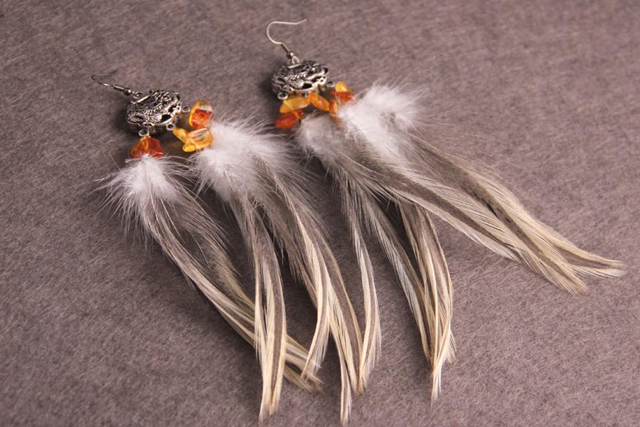 Серьги с перьями «Янтарный Дракон»