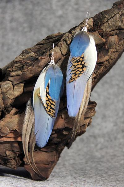 Серьги с перьями «Колыбельная для кошки»