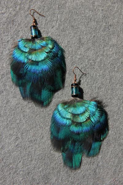Серьги с перьями «Космическая глубина»