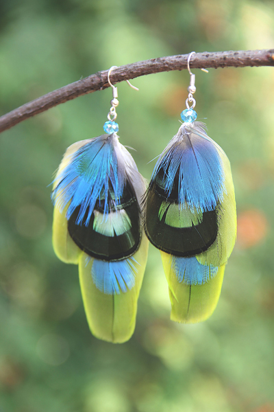 Серьги с перьями «Майский дождь»