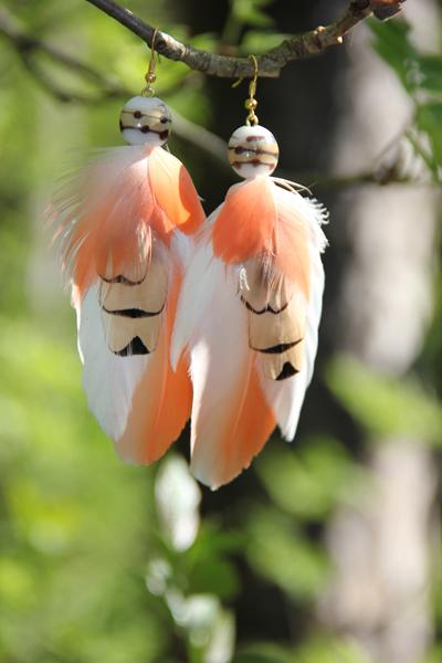 Серьги с перьями «На крыльях рассвета»