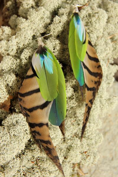 Серьги с перьями «Сердце драконицы»