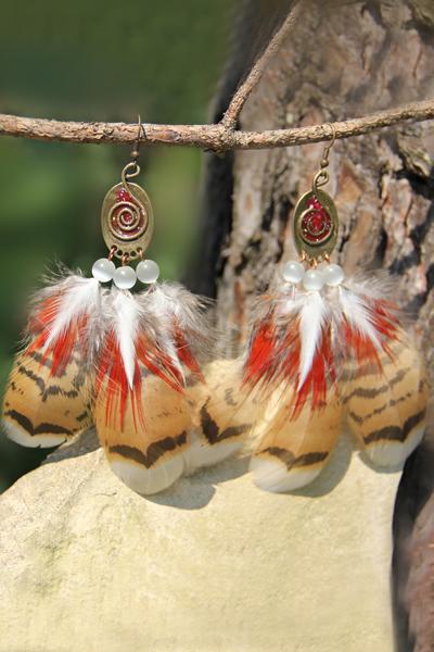 Серьги с перьями «Славянское лето»