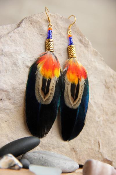 Серьги с перьями «Украденный поцелуй»