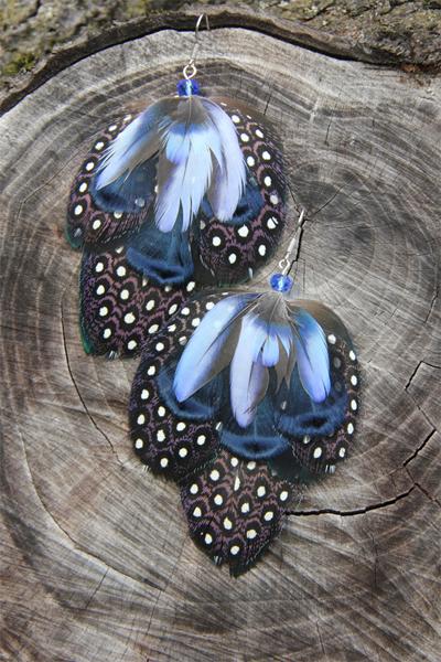 Серьги с перьями «Звёздные отражения»
