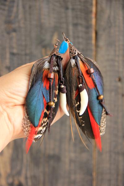 Серьги с перьями «Танец шамана»