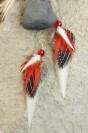 "Feather earrings ""Red Bird"""